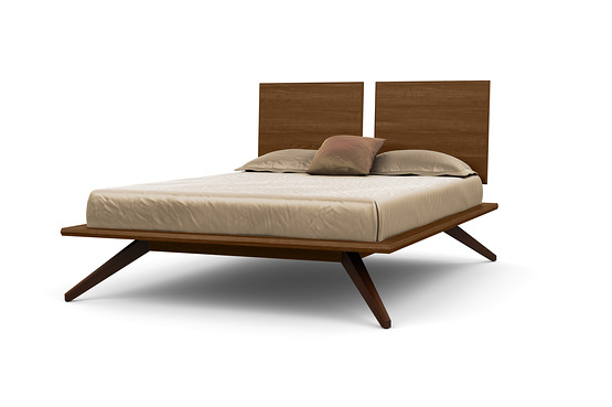 ASTRID BED WITH 2 ADJUSTABLE HEADBOARD PANELS IN WALNUT AND DARK CHOCOLATE MAPLE